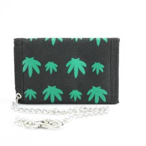 Wallet Fabric Chain Green Weed Leaf