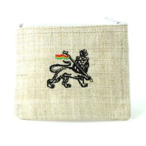 Purse Hemp White Lion of Judah Zip
