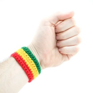 Wristband Crochet Rasta Green Yellow Red