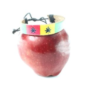 Leather Wristband Black Marijuana Leaves