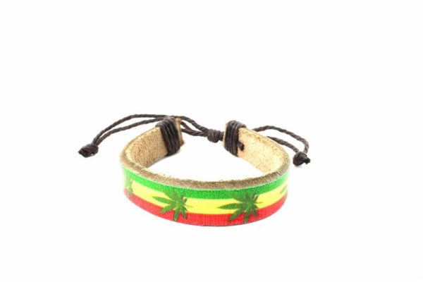 Leather Wristband Green Cannabis Leaves