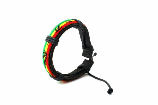 Wristband Green Yellow Red Colors Cannabis Leaf