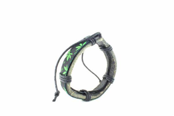 Wristband Black Leather Green Cannabis Leaf