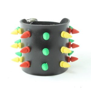 Wristband PVC Studded Rasta Colors