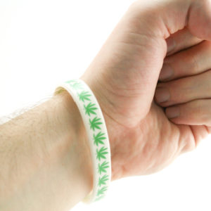 Wristband White Rubber Green Ganja
