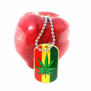 Keychain Cannabis Leaf All Metal Green Yellow Red
