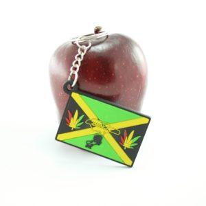 Jamaica Flag Keychain Marijuana Leaf