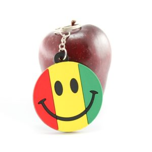 Keychain Rasta Smiley Green Yellow Red