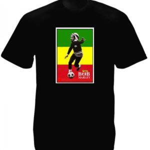 Bob Marley Playing Football Black T-Shirt Short Sleeves