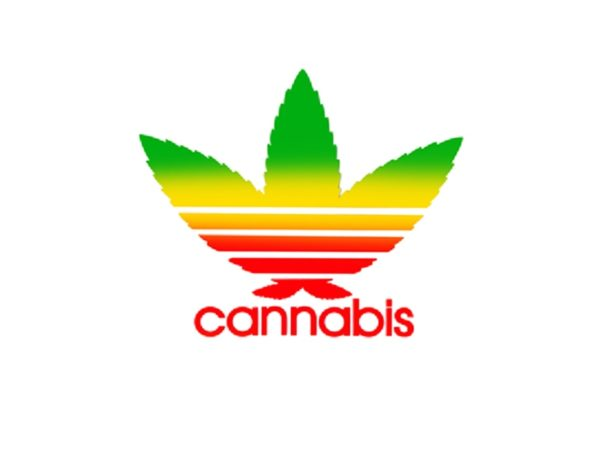 Adidas Cannabis White T-Shirt Short Sleeves Green Yellow Red