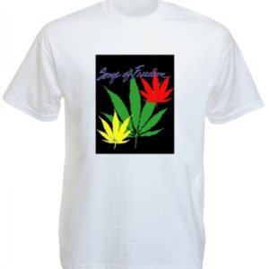 Songs of Freedom Green Yellow Red Cannabis Leaves White T-Shirt Short Sleeves