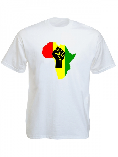 Black Power Fist Pan African Colors White Tee-Shirt