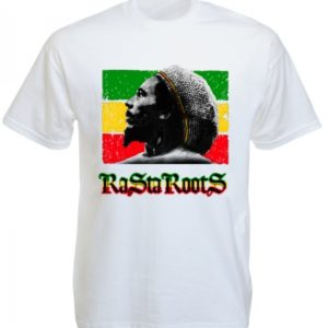 Bob Marley Portrait Rasta Roots White Tee-Shirt