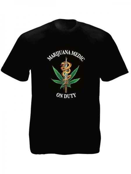 Marijuana Medic on Duty Black Tee-Shirt